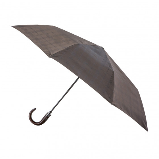 Parapluie Homme Prince de Galles pliant mini automatique 8 baleines poignée bois courbe