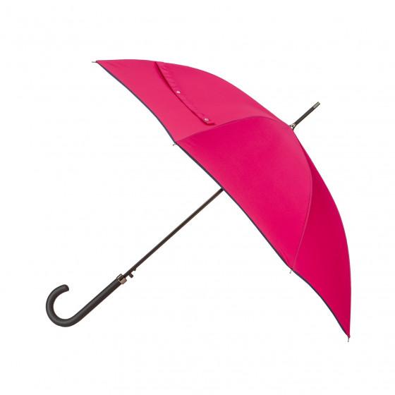 Parapluie Essentiel Uni Pink + Biais Marine droit automatique