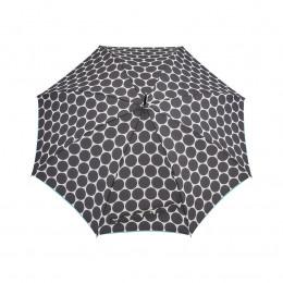 Parapluie Droit Polka + biais turquoise