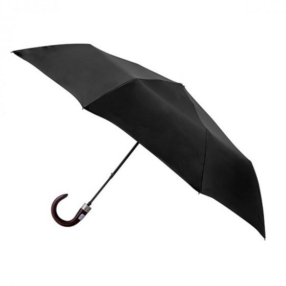 Parapluie Homme Uni Noir pliant mini automatique 8 baleines poignée bois courbe