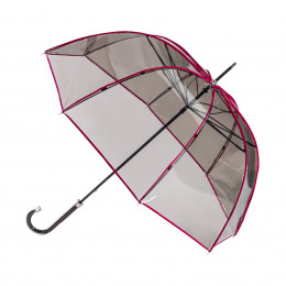 Parapluie Transparent fumé bordé rose